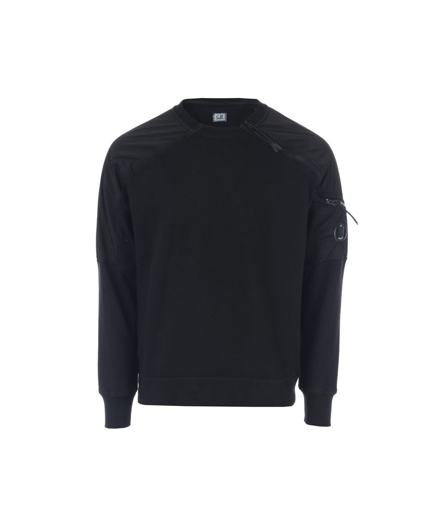Image for Men's C.P. Company Crew Neck Fleece Sweatshirt in Black