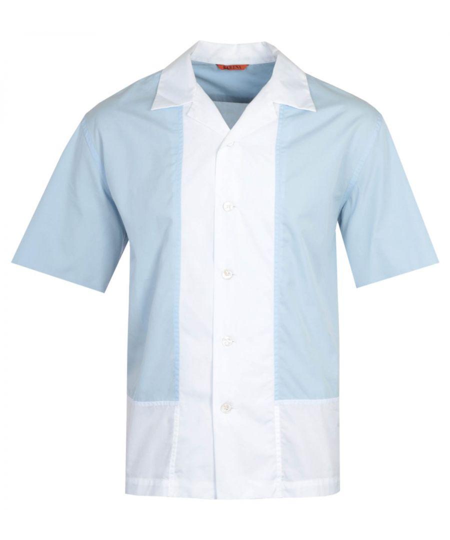 Image for Barena Trepola Cuban Collar Sky Blue Shirt