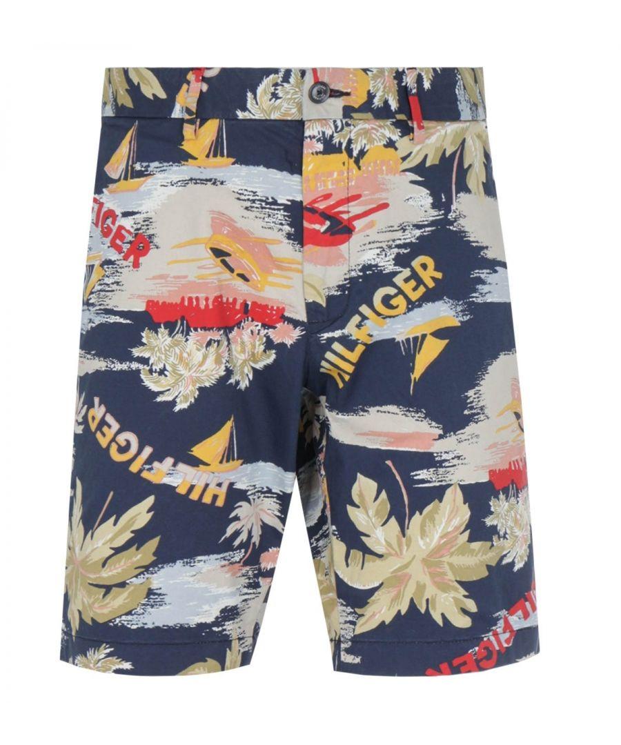 Image for Tommy Hilfiger Brooklyn Regular Fit Hawaii Print Twill Shorts