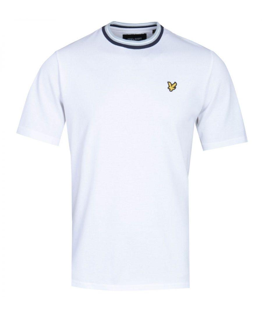 Image for Lyle & Scott Multi Colour Rib White Crew Neck T-Shirt