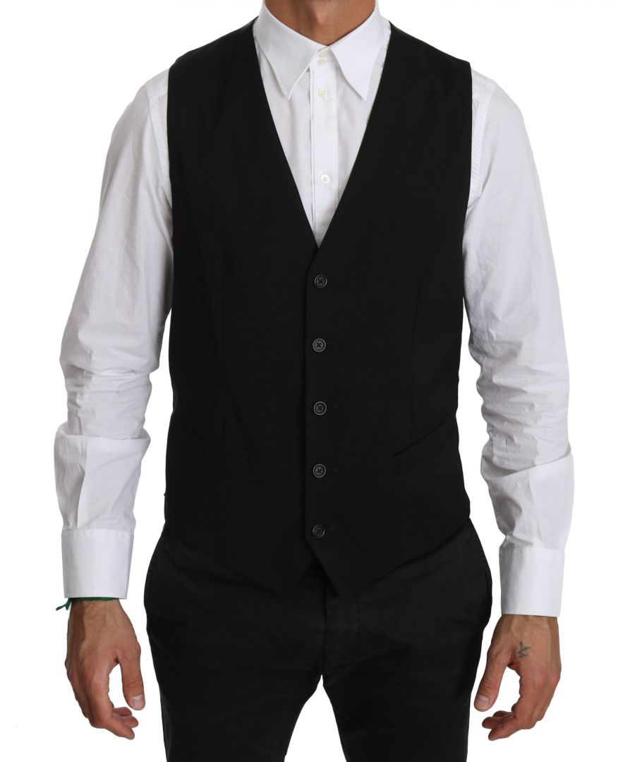 Image for Dolce & Gabbana STAFF Black Waistcoat Formal Gilet Vest