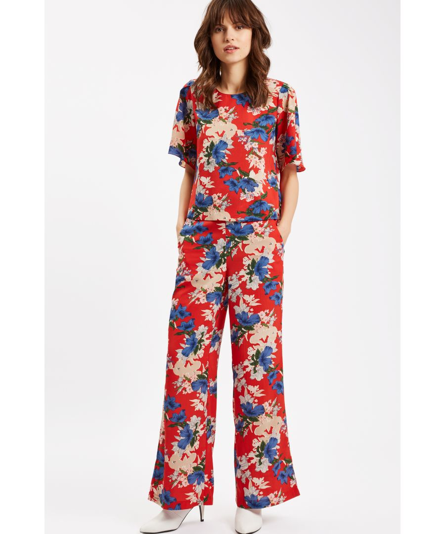 Image for SING Floral Red Wide Leg Trousers