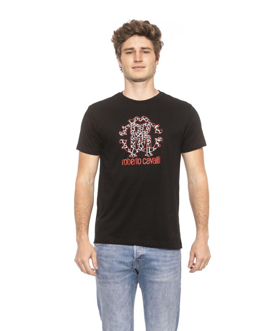 Image for Roberto Cavalli Beachwear Black Short Sleeves T-shirt. Front Logo Print.