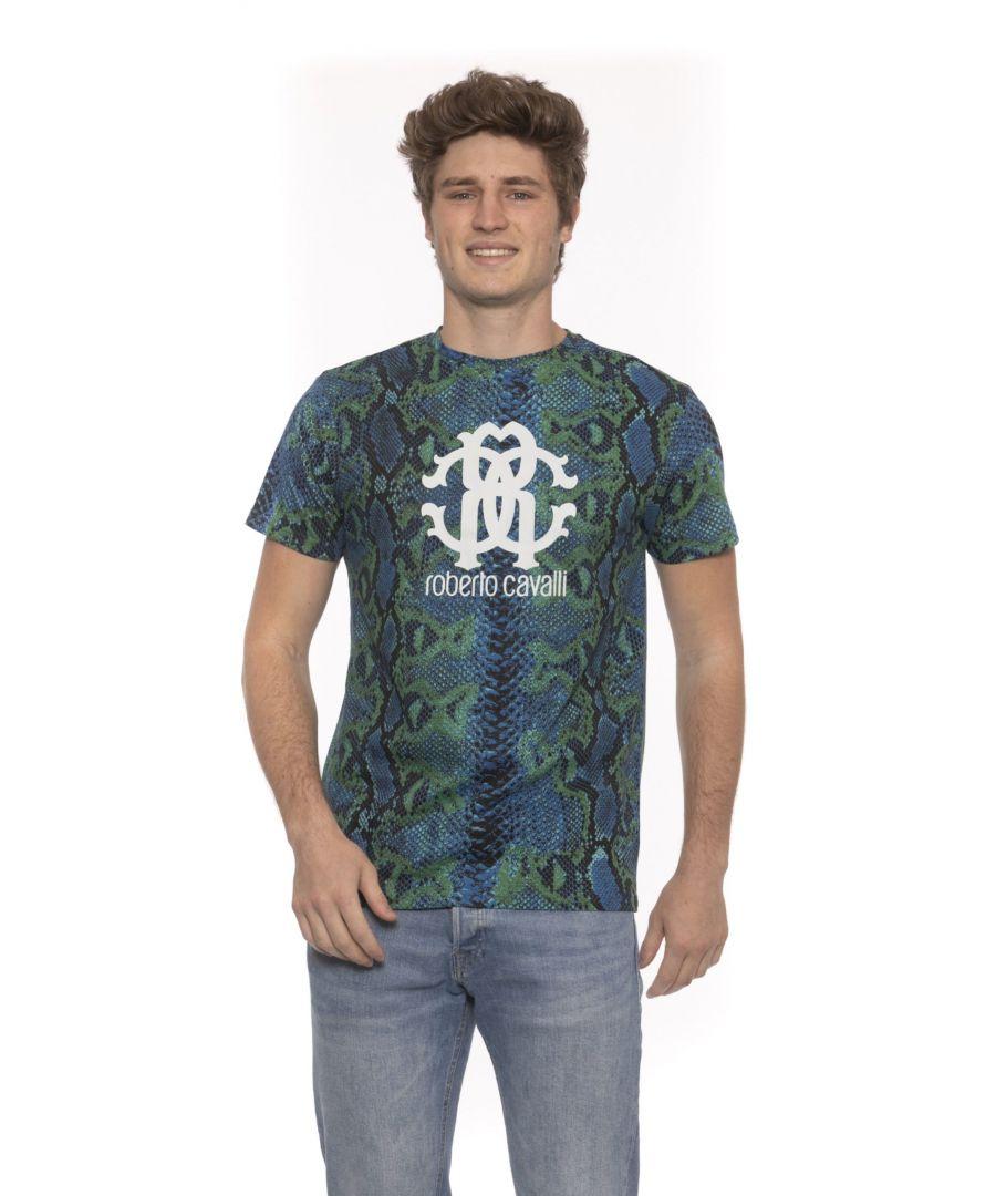 Image for Roberto Cavalli Beachwear Teal Short Sleeves T-shirt. Front Logo Print. Python Fantasy.