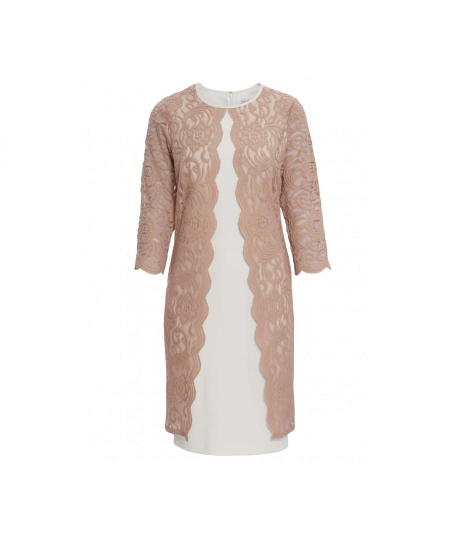 Image for Gina Bacconi Clarabelle Lace Dress in Beige