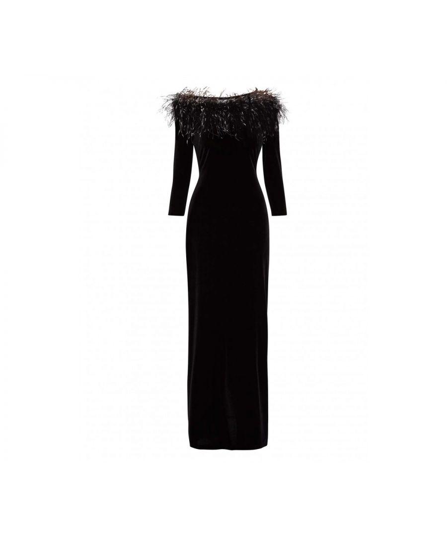 Image for Laina Velvet Feather Maxi Dress