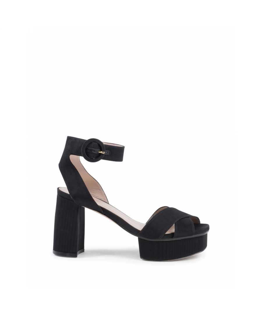 Image for Stuart Weitzman Womens Ankle Strap Sandal Black CARMINA