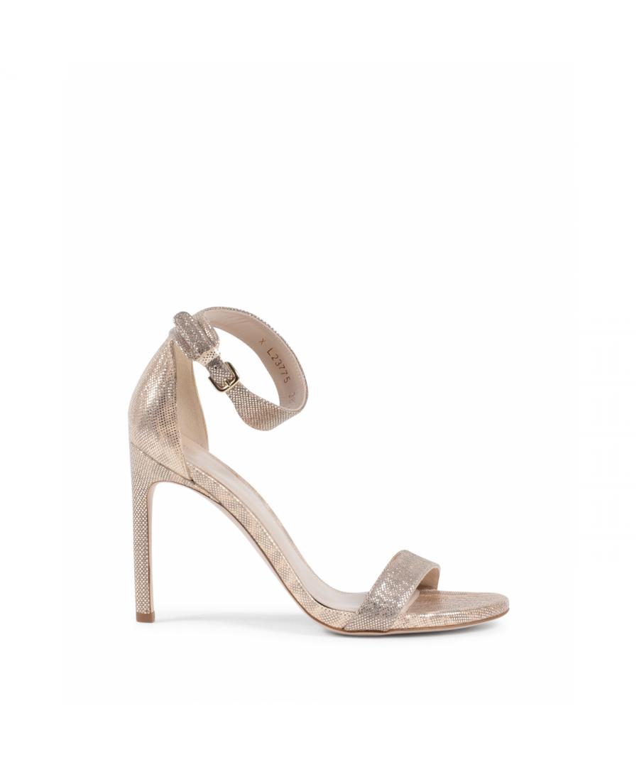 Image for Stuart Weitzman Womens Ankle Strap Sandal Gold BACKUPTIZ