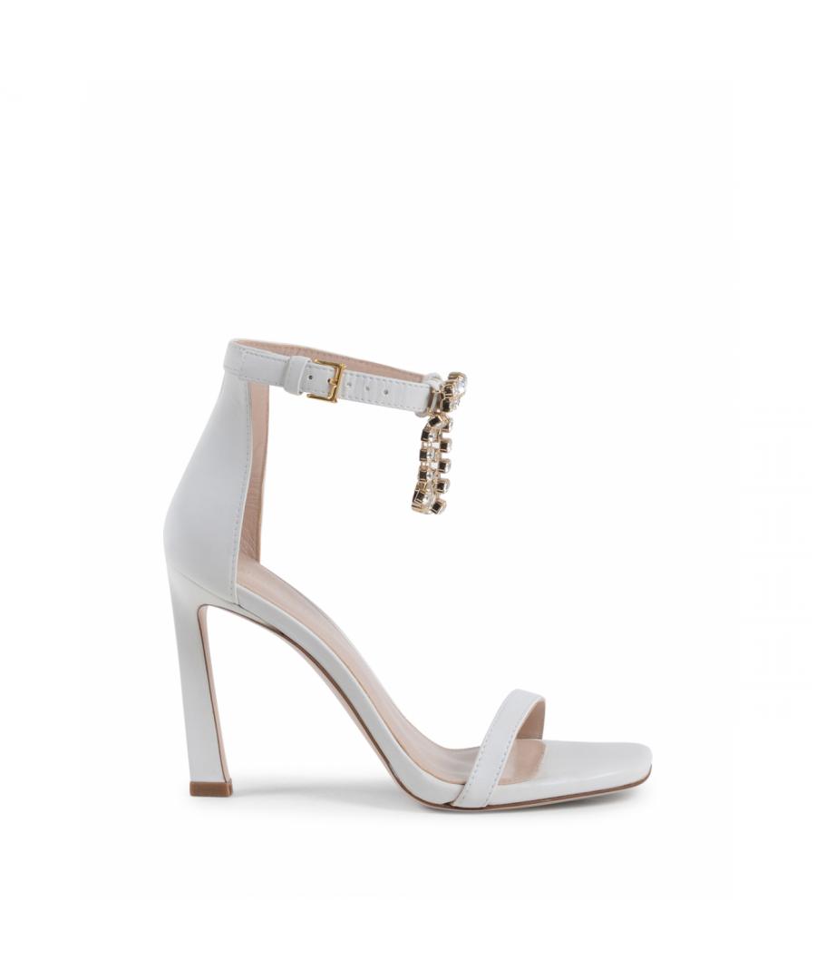Image for Stuart Weitzman Womens Ankle Strap Sandal White FRINGESQUARENUDIST