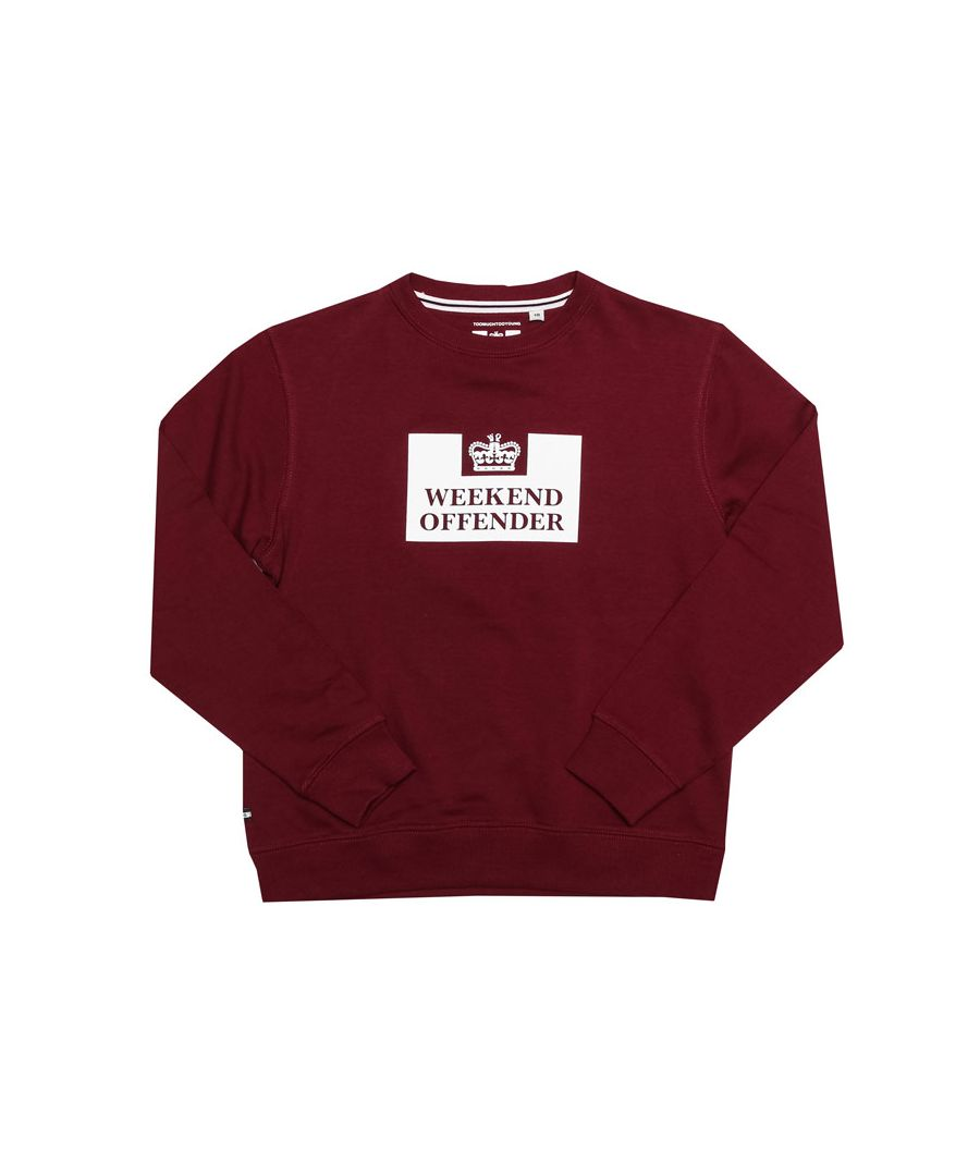 Image for Boy's Weekend Offender Junior Penitentiary Crew Sweatshirt in Burgundy
