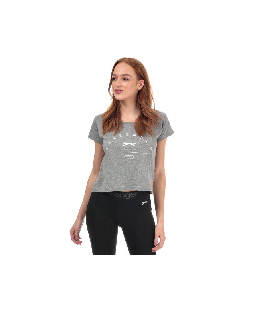 Image for Women's Slazenger Ilena Cropped T-Shirt in Grey Marl