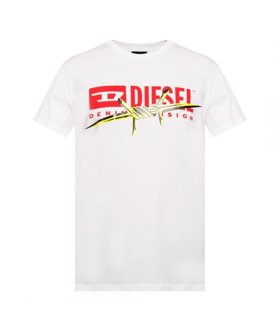 Image for Diesel T-Diego-BX2 Barb Wire Logo White T-Shirt