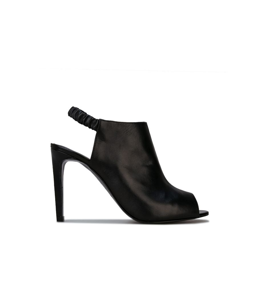 Image for Women's Karen Millen Ella High Leather Peeptoe Shoes in Black