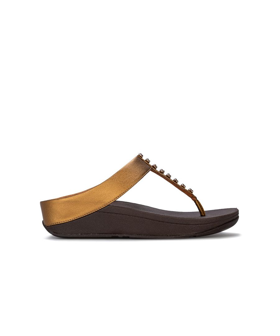 Image for Women's Fit Flop Fino Treasure Toe Thong Sandals in Bronze