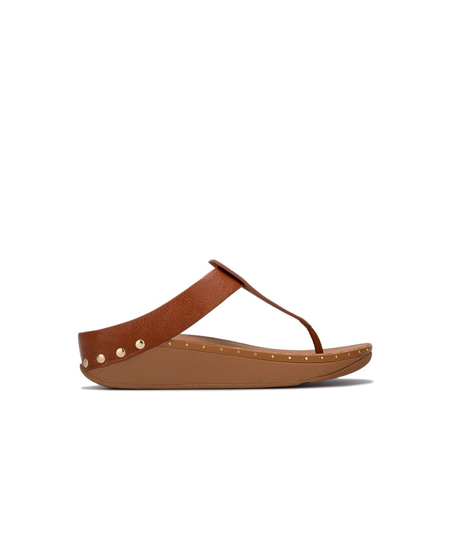 Image for Women's Fit Flop Isabelle Stud Toe Thong Sandals in Tan