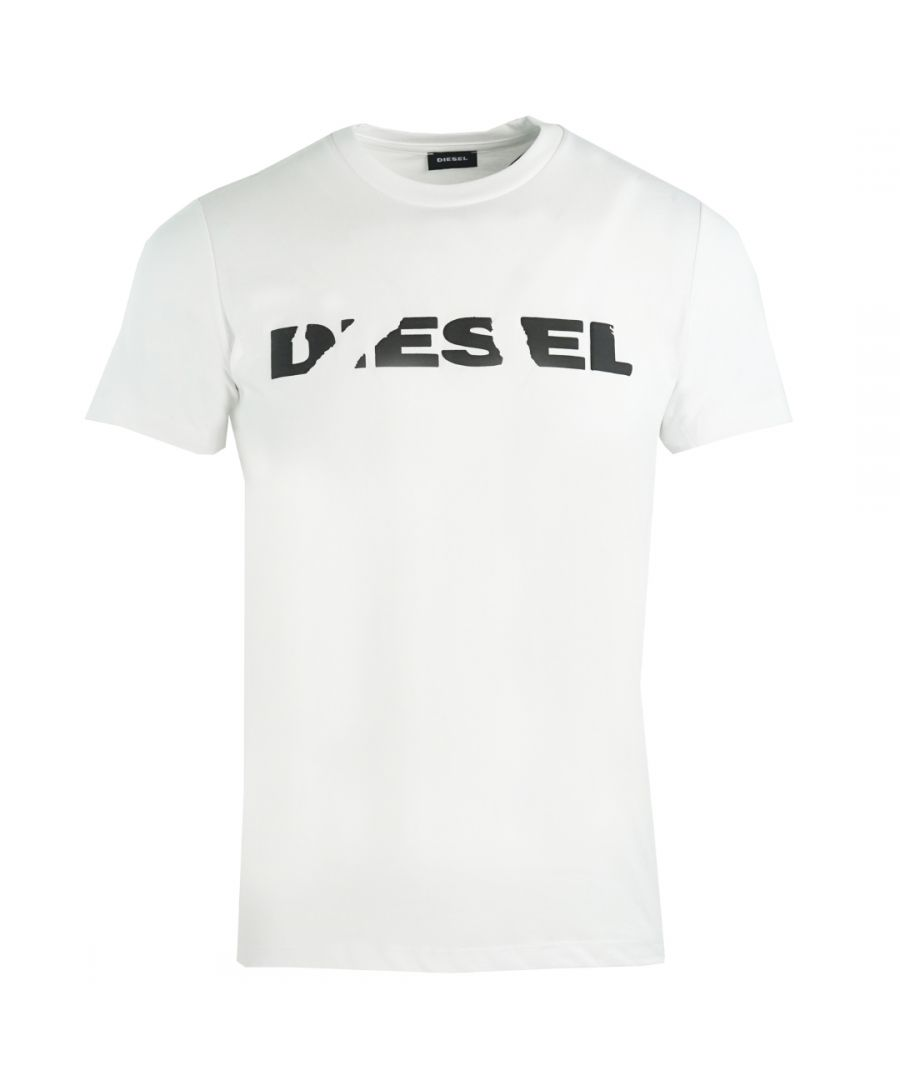 Image for Diesel T-Diego-Brok Ripped Logo White T-Shirt
