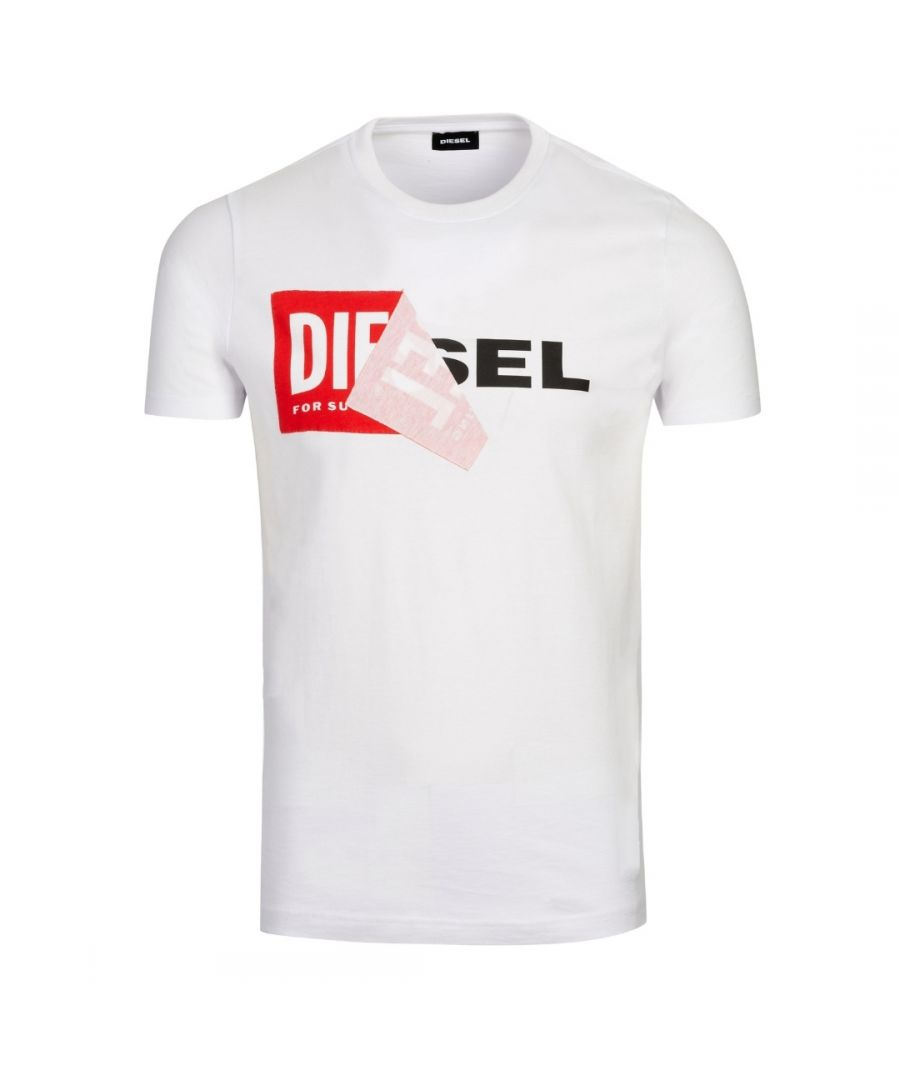 Image for Diesel T-Diego-QA Peel Logo White T-Shirt