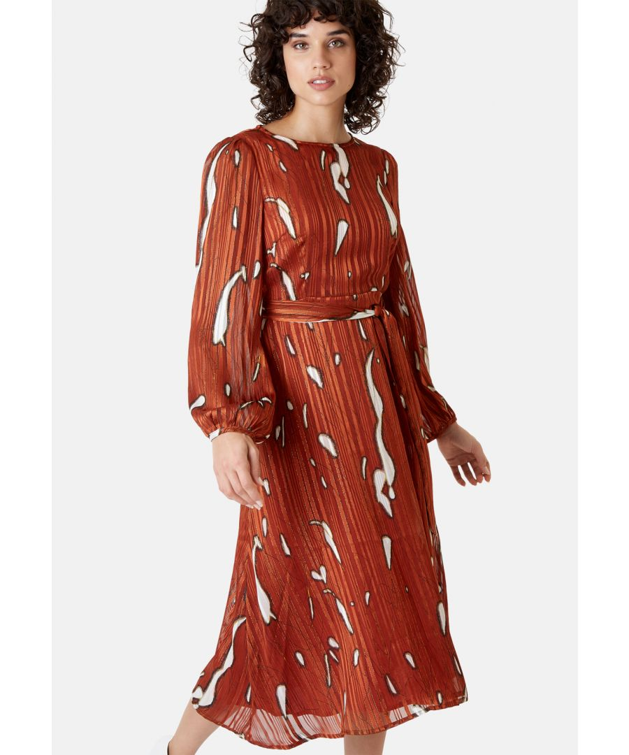 Image for Mood Midi Printed Dress in Rust Red