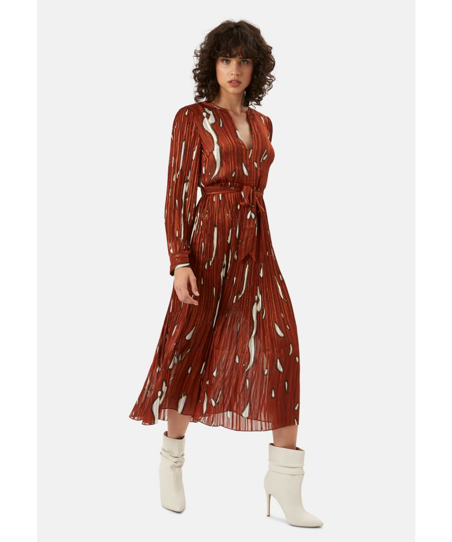 Image for Falls and Rises Pleated Maxi Dress in Rust Red