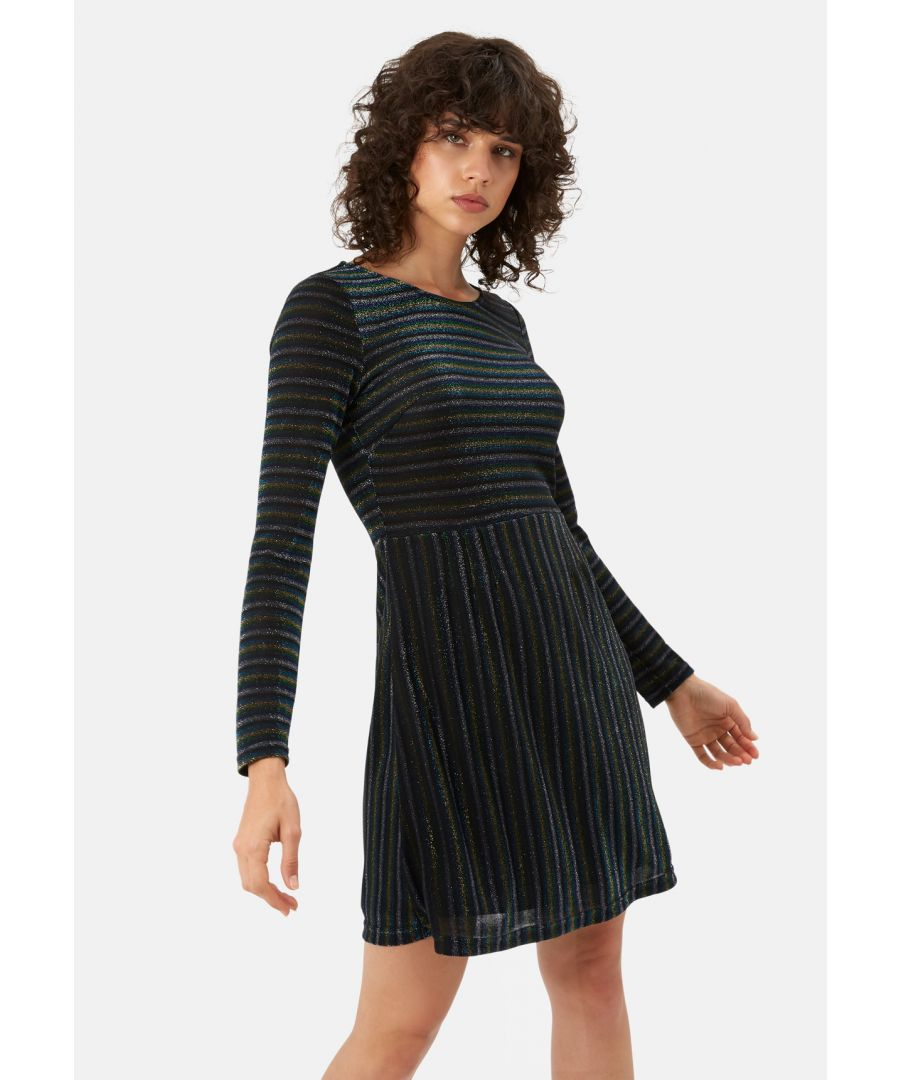 Image for The Daunting Disco Mini Glitter Stripe Nolan Dress in Blue