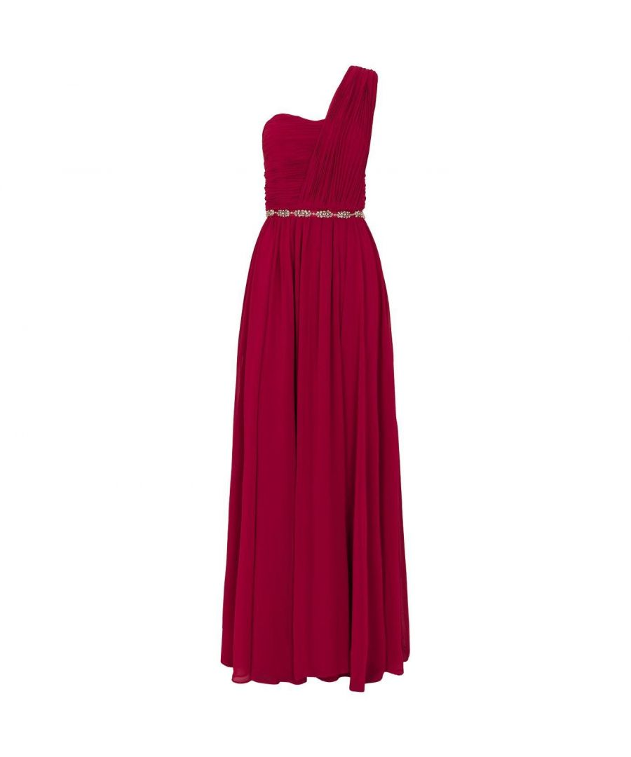 Image for Ted Baker Finella Layered One Shoulder Maxi Drs, Deep Pink