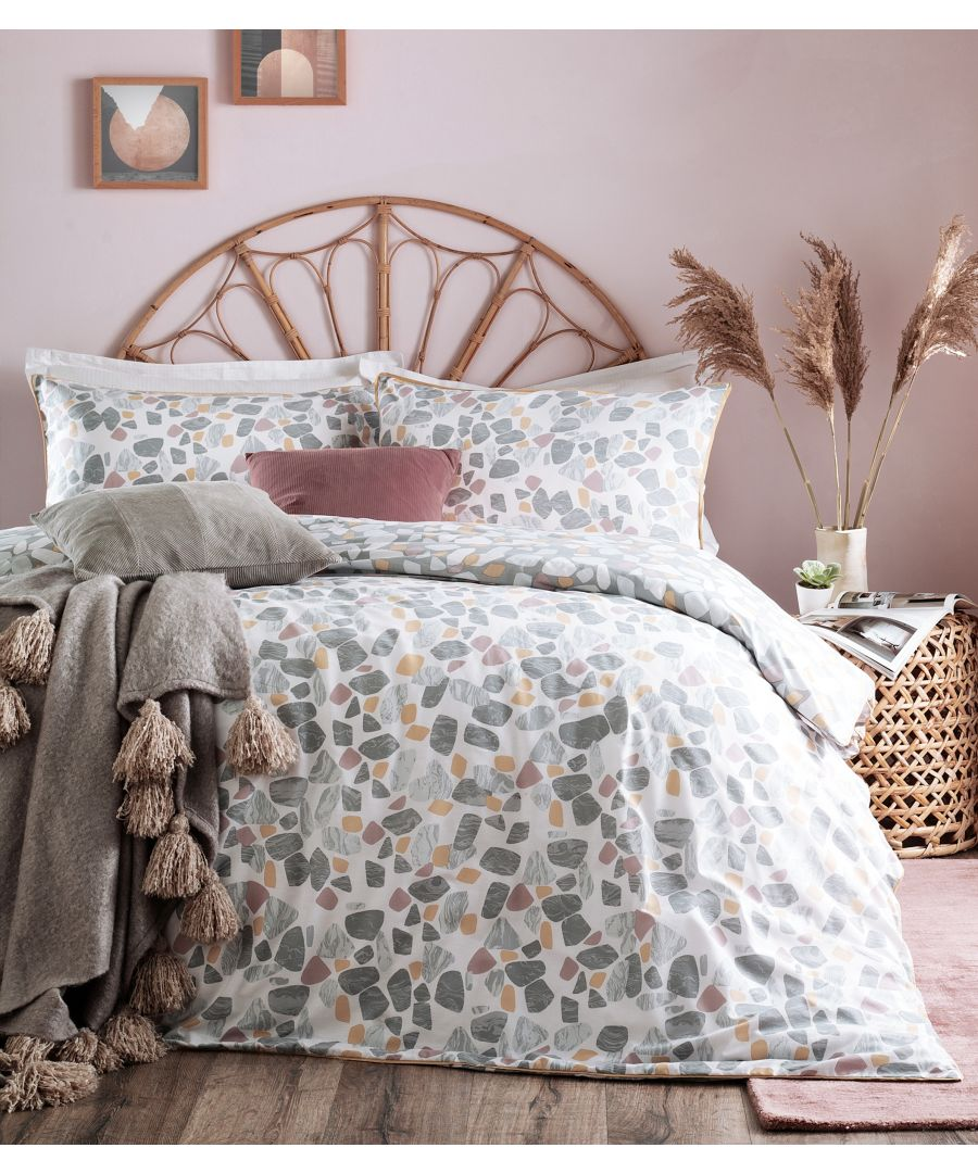 Image for Terrazo Single Duvet Set Grey/Blush/Ochr