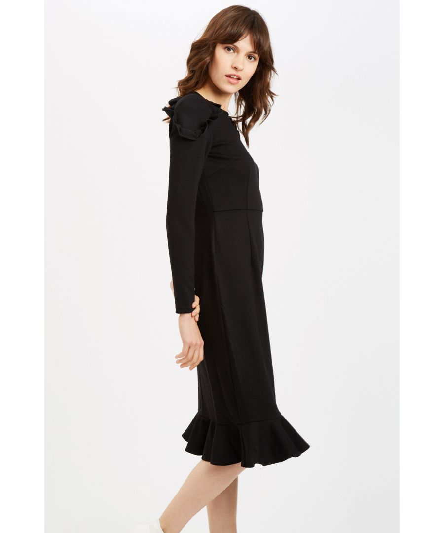 Image for Shirley Midi Frill Dress in Black