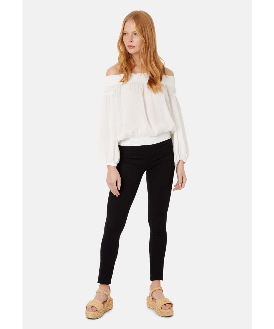 Image for Long Sleeved Off The Shoulder Ava Top in White