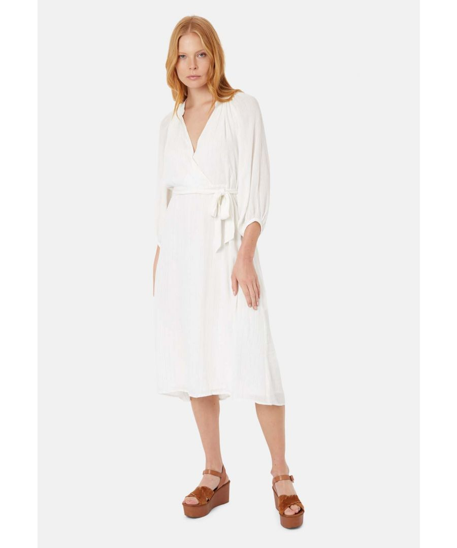 Image for Long Sleeved Belt Up Midi Dress in White