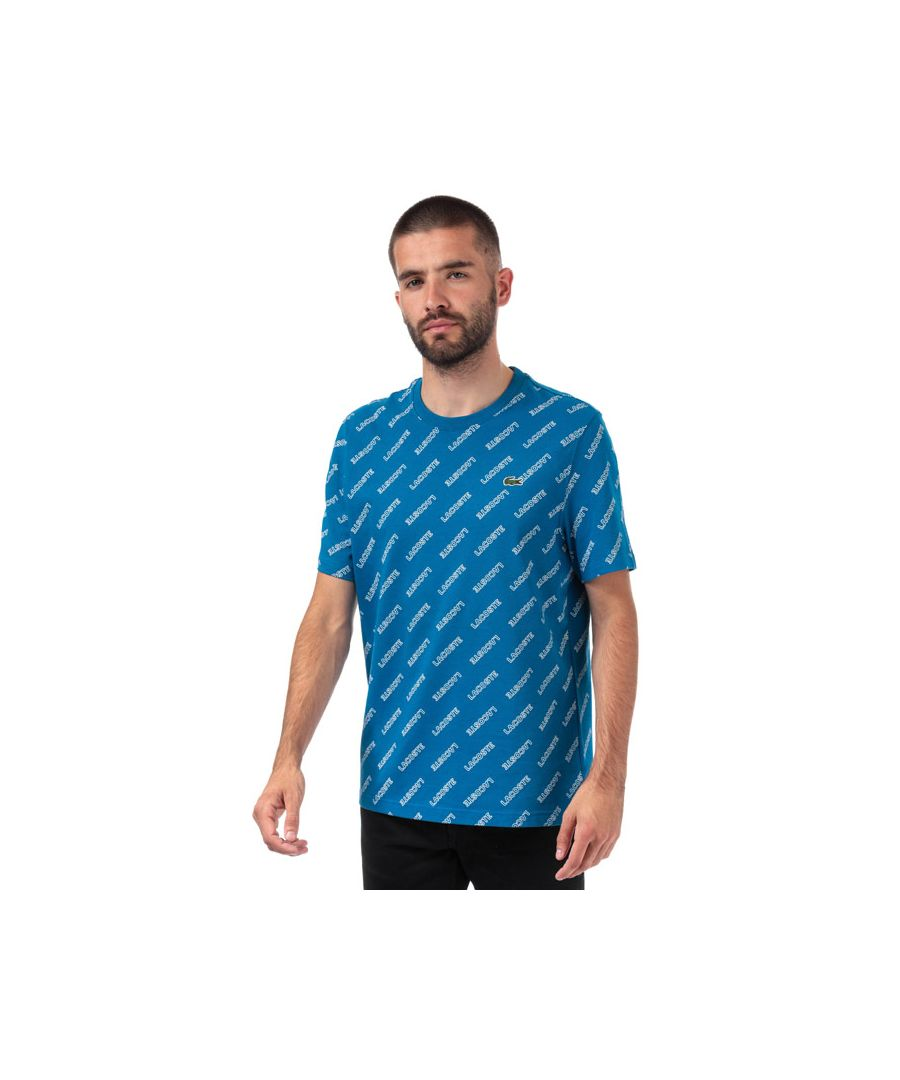 Image for Men's Lacoste Signature Print T-Shirt in Blue
