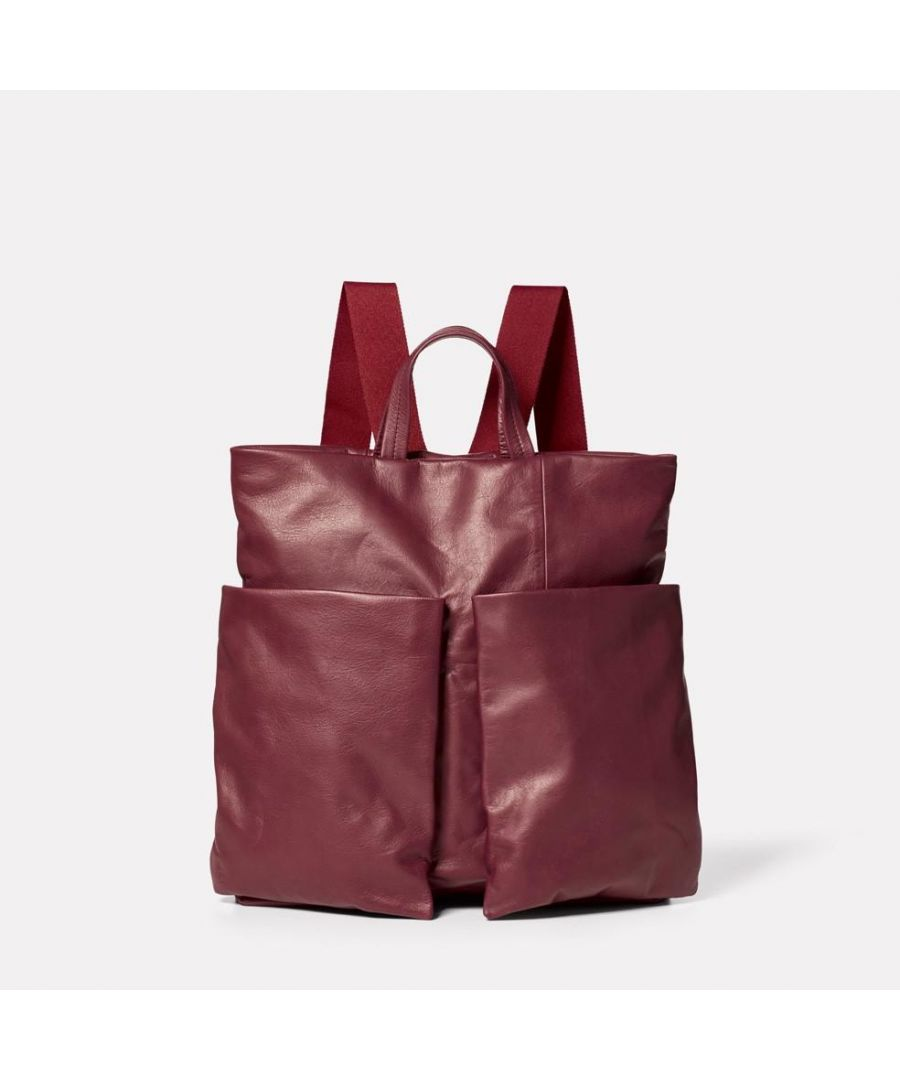 Image for Lala Camlet Leather Convertible Backpack in Oxblood