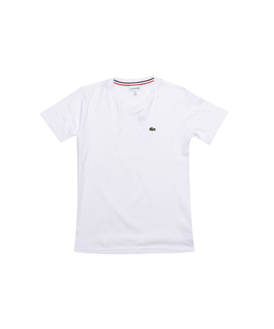 Image for Boy's Lacoste Junior Logo V Neck T-Shirt in White