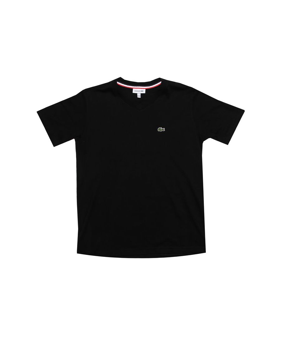 Image for Boy's Lacoste Junior Logo V Neck T-Shirt in Black
