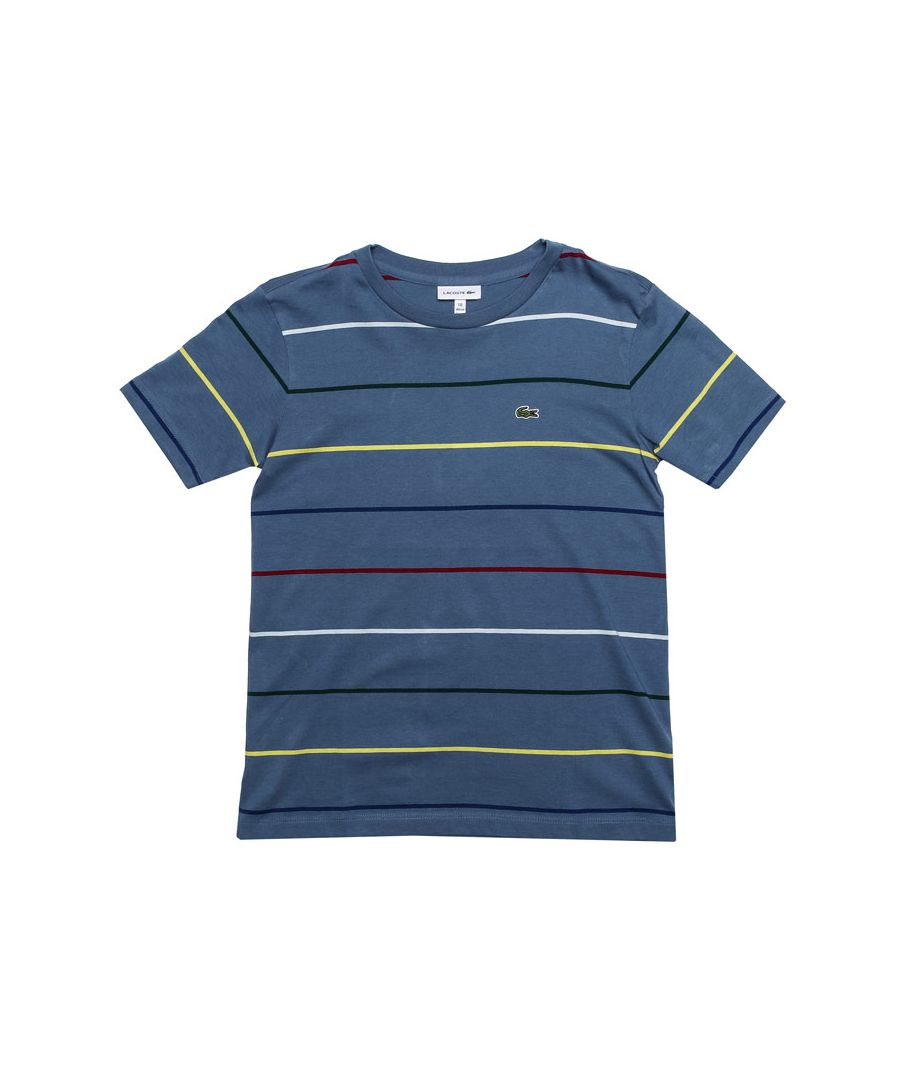 Image for Boy's Lacoste Junior Striped T-Shirt in Blue
