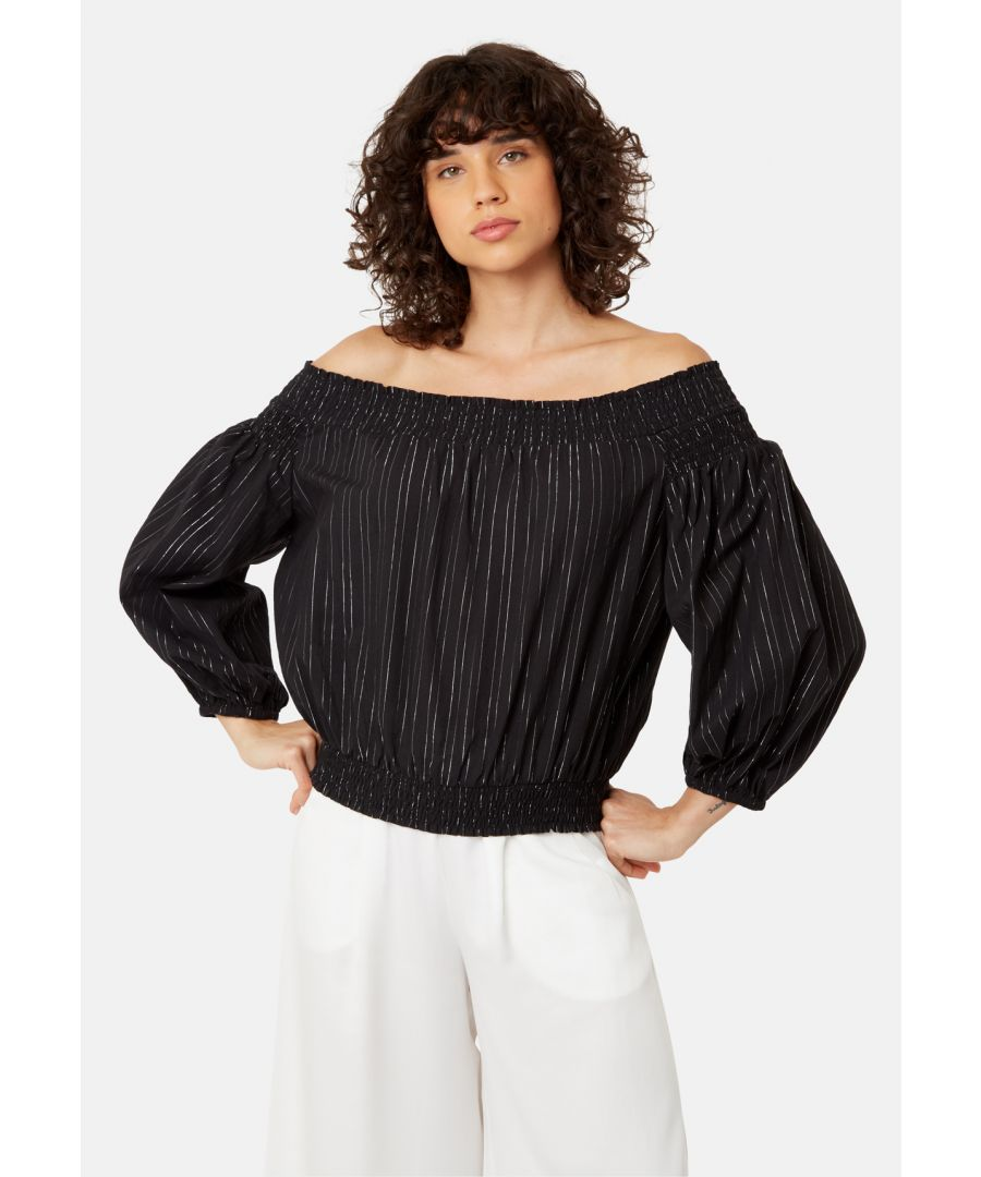 Image for Ava Off The Shoulder Long Sleeve Top in Black