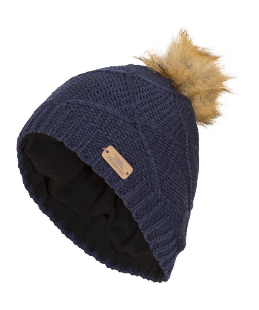 Image for Trespass Boys & Girls Tanisha Knitted Acrylic Pom Pom Beanie Hat