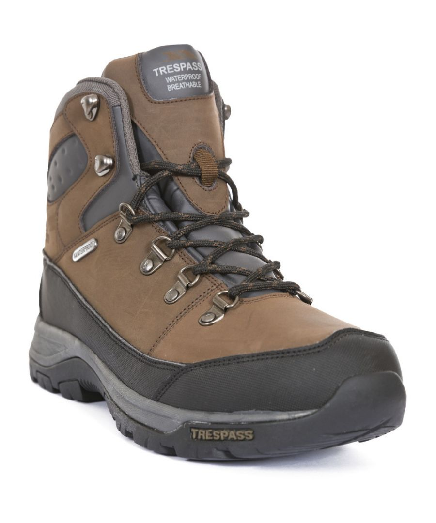 Image for Trespass Mens Thorburn Mid Cut Leather Waterproof Walking Hiking Boots