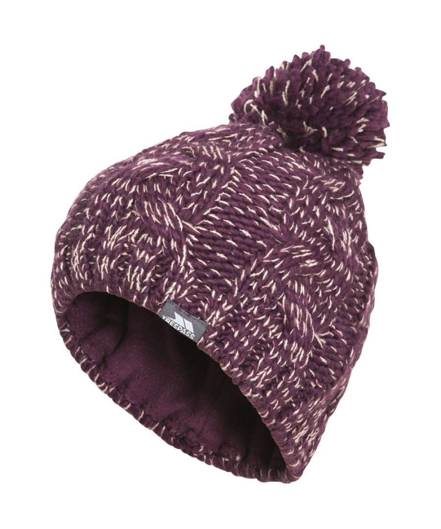 Image for Trespass Girls Epstein Knitted Acrylic Pom Pom Warm Winter Beanie Hat