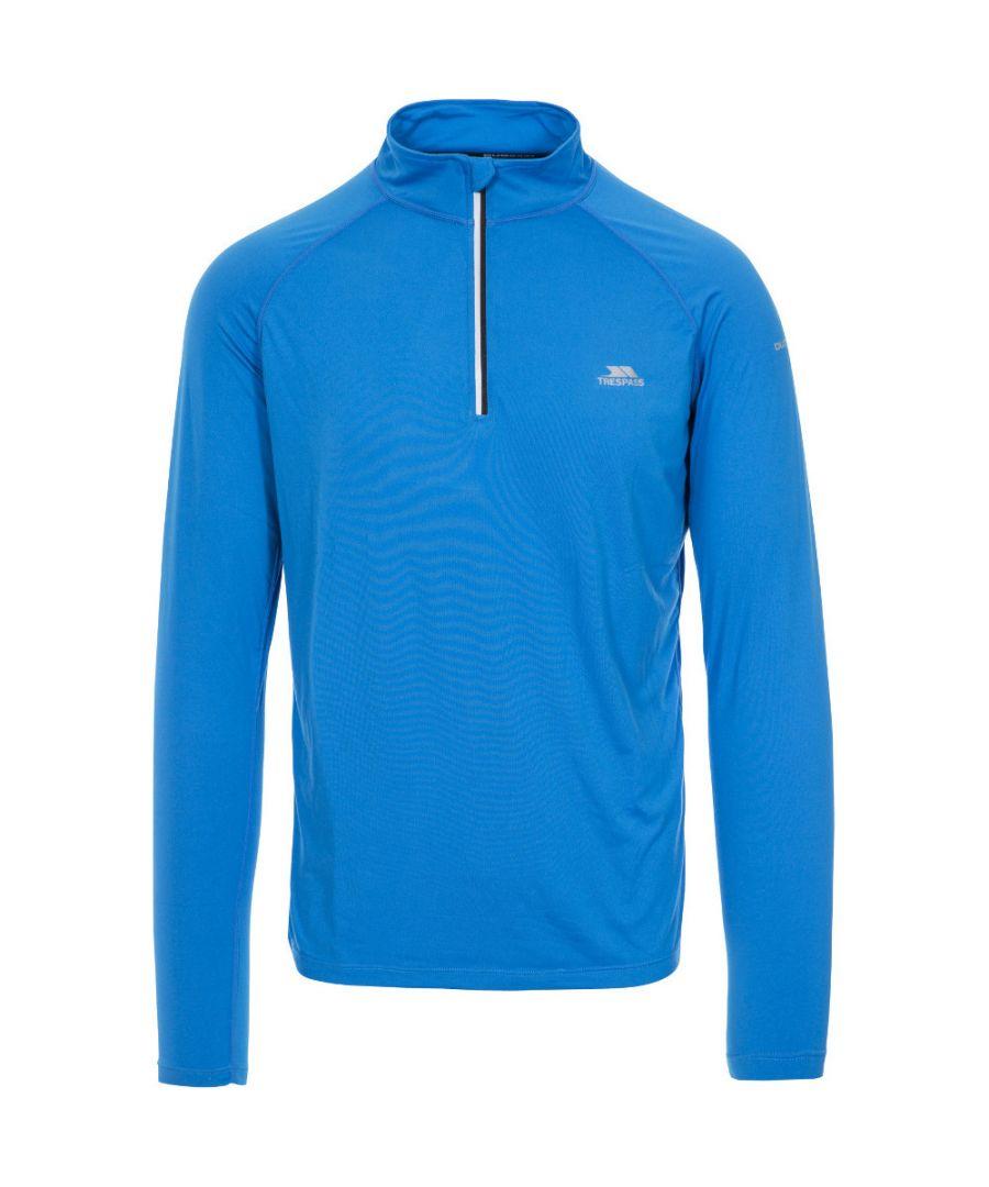 Image for Trespass Mens Arowson Half Zip Quick Drying Long Sleeve Running Top