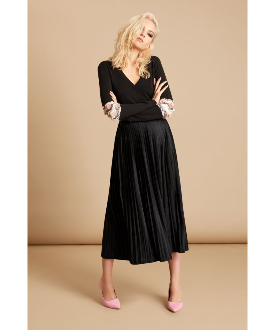 Image for Black Pleat Midi Skirt in Black