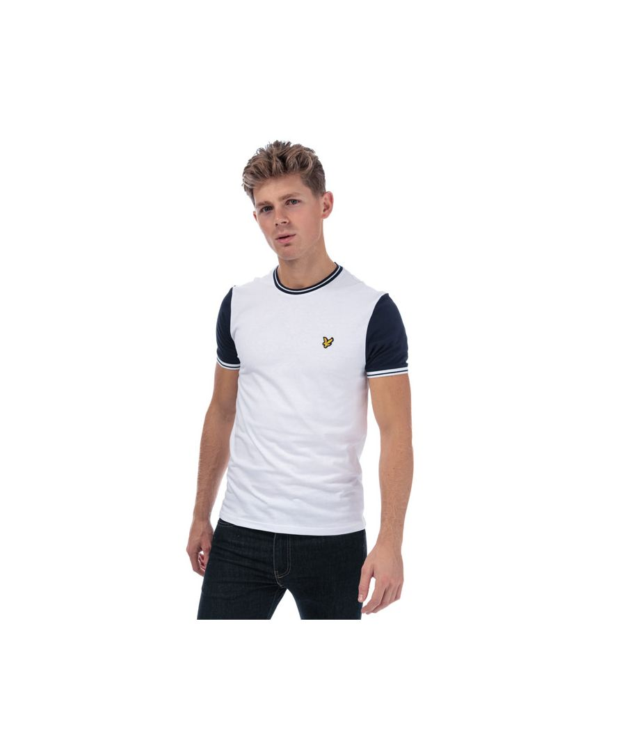 Image for Men's Lyle And Scott Tipped T-Shirt in White Navy