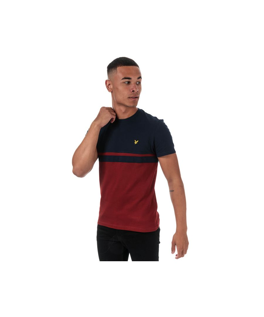 Image for Men's Lyle And Scott Panel Stripe T-Shirt in Navy Red