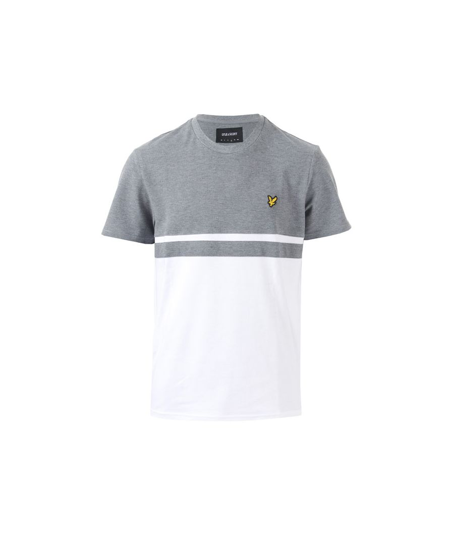 Image for Men's Lyle And Scott Panel Stripe T-Shirt in Grey White