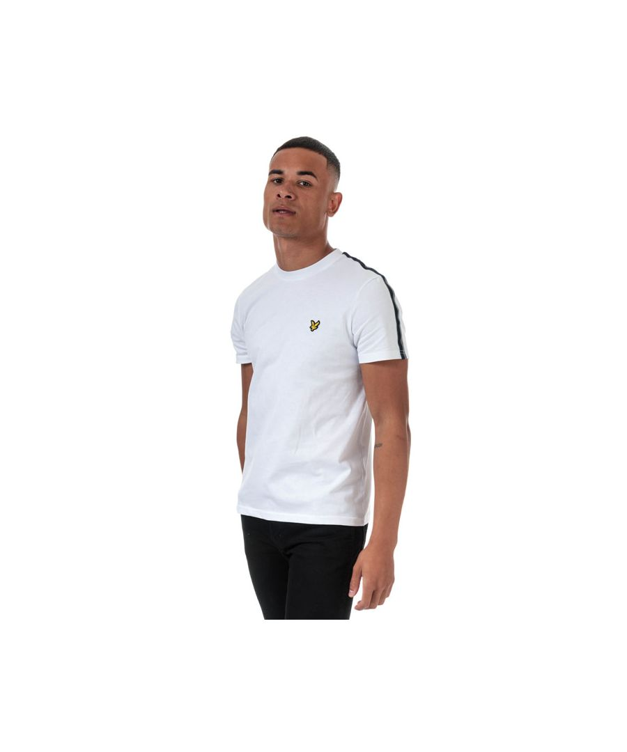 Image for Men's Lyle And Scott Taped T-Shirt in White Navy