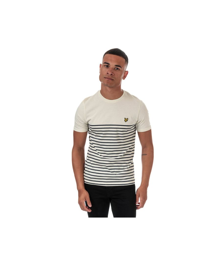 Image for Men's Lyle And Scott Breton Stripe T-shirt in White Navy