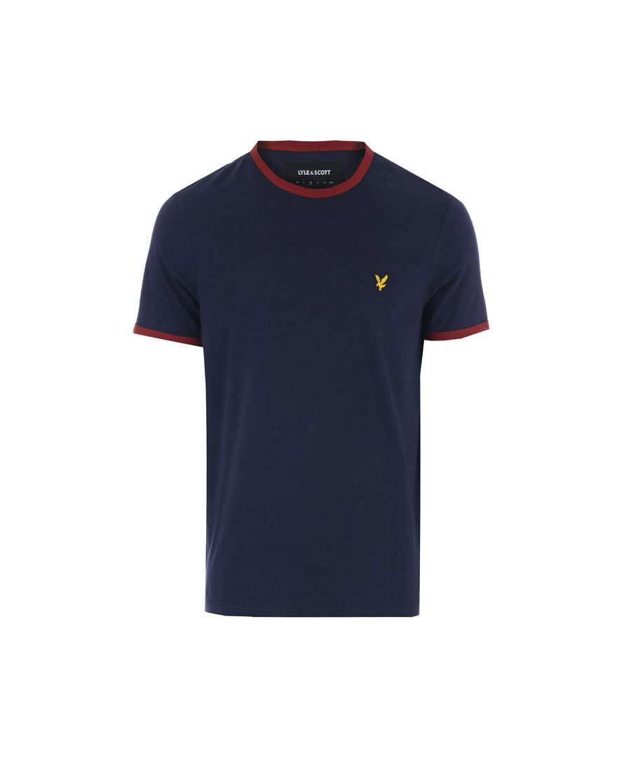 Image for Men's Lyle And Scott Ringer T-Shirt in Navy Red