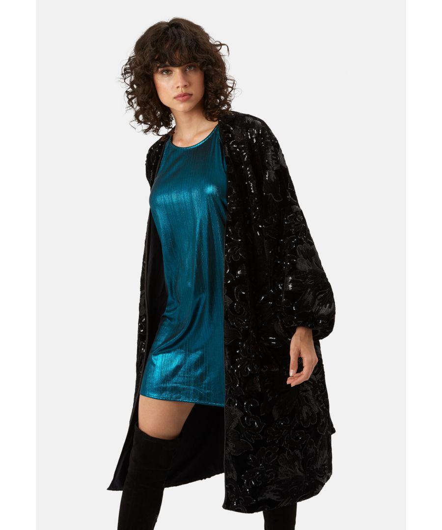 Image for Trespass Tease Velvet and Sequin Duster Jacket in Black