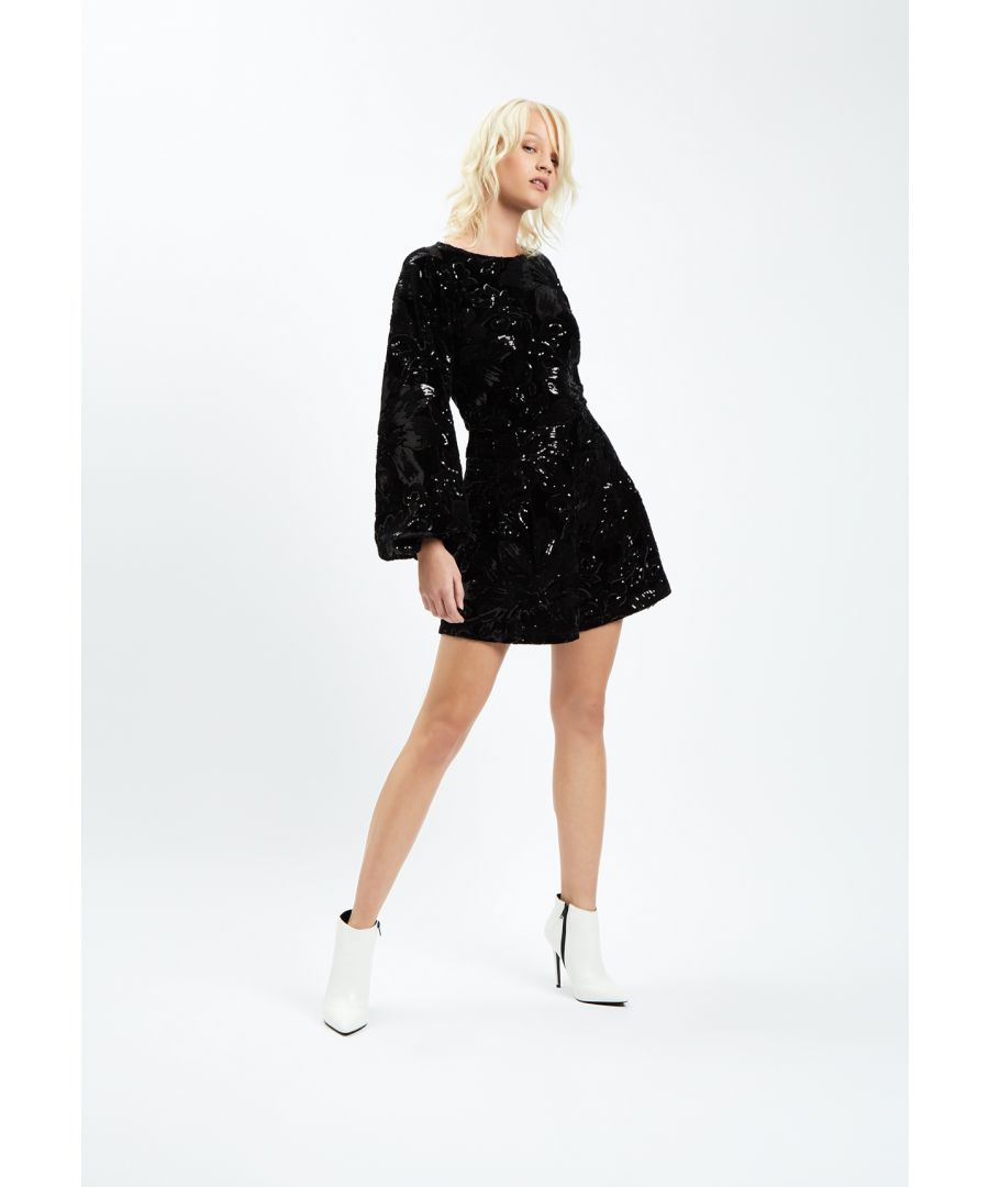 Image for Velvet and Sequin Bambi Playsuit in Black