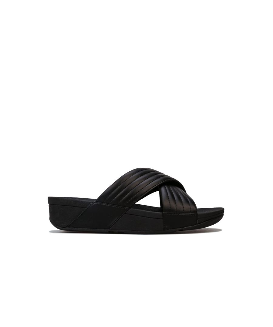 Image for Women's Fit Flop Lulu Padded Cross Slide Sandals in Black