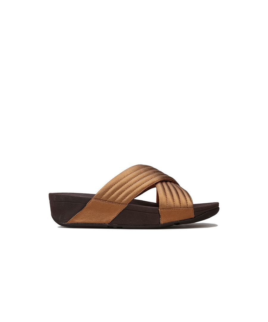 Image for Women's Fit Flop Lulu Padded Cross Slide Sandals in Bronze